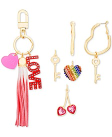 Interchangeable Charm Key Ring & Heart Hoop Earrings Set