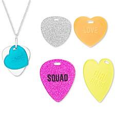 "Interchangeable Heart Tag Pendant Necklace Set, 16-1/2"" + 3"" extender"