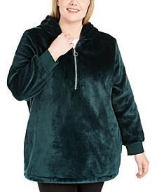 Plus Size Half-Zip Faux-Fur Hoodie, Created For Macy's