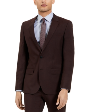 Hugo Men's Slim-Fit Red Clay Solid Suit Jacket, Created for Macy's