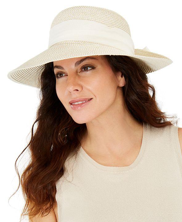 Nine West Mixed-Braid Scarf Floppy Hat