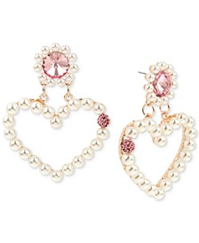 Rose Gold-Tone Crystal & Imitation Pearl Open Heart Drop Earrings