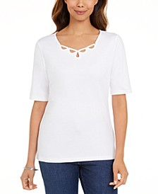 Petite Cotton Elbow-Sleeve Keyhole-Cutout Top, Created for Macy's