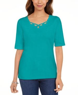 Karen Scott Shirts PETITE COTTON ELBOW-SLEEVE KEYHOLE-CUTOUT TOP, CREATED FOR MACY'S
