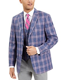 Men's Modern-Fit TH Flex Stretch Blue/Red Windowpane Plaid Sport Coat and Vest Separates