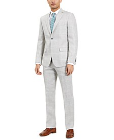 Men's Classic-Fit Ultra-Flex Stretch Light Gray/Blue Plaid Suit Jacket