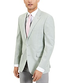 Men's Modern-Fit TH Flex Stretch Green Chambray Sport Coat