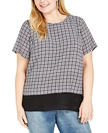 Plus Size Cheeky Check Layered-Look Top