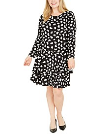 Plus Size Printed Ruffled-Hem Dress