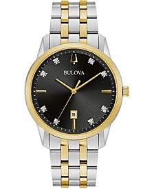 Men's Sutton Diamond-Accent Two-Tone Stainless Steel Bracelet Watch 40mm
