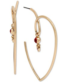 """Large Gold-Tone Crystal Abstract Heart Open Hoop Earrings 2-1/8"""""""