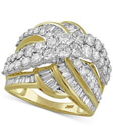 Diamond Crisscross Statement Ring (3 ct. t.w.) in 10k Gold