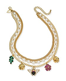 """Gold-Tone Crystal & Imitation Pearl Bee Multi-Charm Layered Necklace, 16"""" + 3"""" extender, Created for Macy's"""