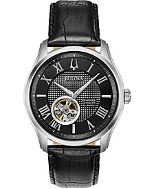 Men's Automatic Wilton Black Leather Strap Watch 42mm