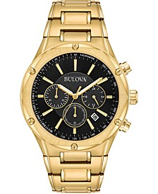 Men's Chronograph Gold-Tone Stainless Steel Bracelet Watch 43mm
