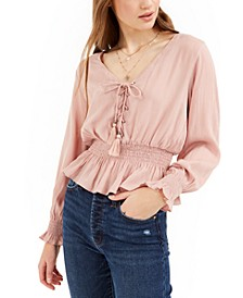 Juniors' Lace-Up Smock-Waist Blouse