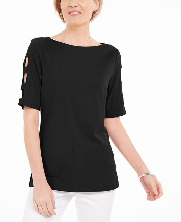 Karen Scott Cotton Cutout-Sleeves Top, Created for Macy's