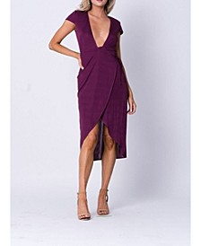 Surplice Deep V Wrap Front Midi Dress