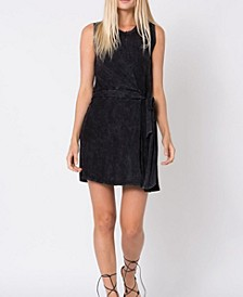 Mineral Washed Tie Front Tank Dress