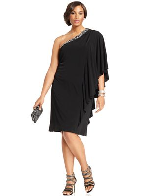 HD wallpapers betsy adam plus size dress one shoulder draped sequin