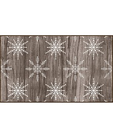 """Barnwood Snowflakes Driftwood Accent Rug, 18"""" x 30"""""""
