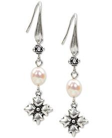 Silver-Tone Freshwater Pearl (5mm) Floret Drop Earrings