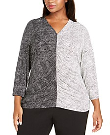 Plus Size Mixed-Print Ruched-Front Top, Created For Macy's