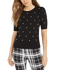 Textured Polka Dot Short-Sleeve Sweater, Created For Macy's