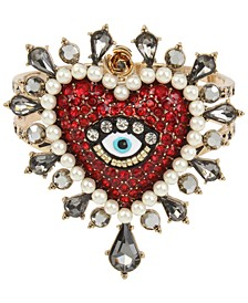 Two-Tone Crystal & Imitation Pearl Evil Eye Heart Bangle Bracelet