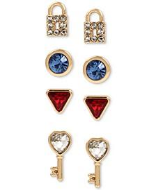 Gold-Tone 4-Pc. Set Multi-Crystal Lock & Key Stud Earrings