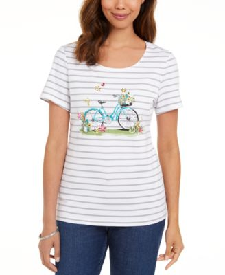 Cotton Embellished Bicycle-Graphic Top, Created for Macy's
