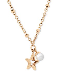 """Stainless Steel Star & Imitation Pearl 17"""" Pendant Necklace"""