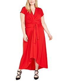 Plus Size Tie-Front Faux-Wrap Dress