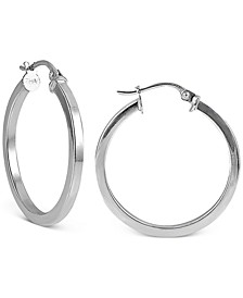 "Small Square Tube Hoop Earrings in Sterling Silver, 1"", Created For Macy's"
