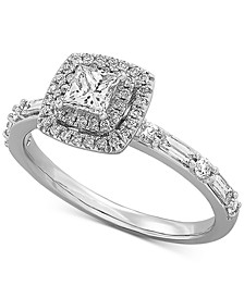 Certified Diamond Princess Halo Diamond Engagement Ring (3/4 ct. t.w.) in 14k White Gold