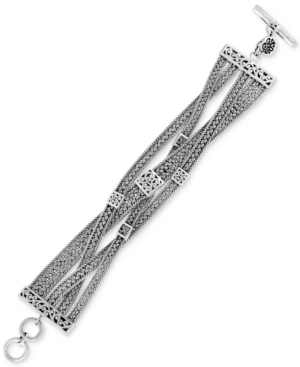 Woven-Look Toggle Bracelet in Sterling Silver