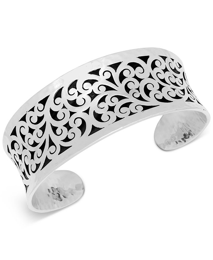 Lois Hill - Concave Filigree Cuff Bracelet in Sterling Silver
