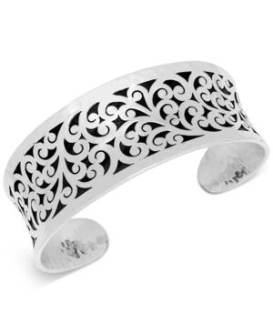 Concave Filigree Cuff Bracelet in Sterling Silver