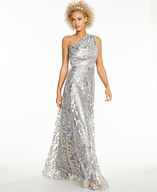 Metallic Lace One-Shoulder Gown