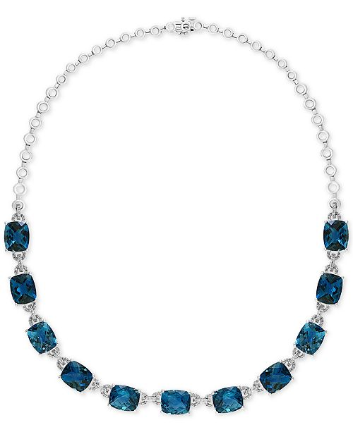 "EFFY Collection EFFY® London Blue Topaz (77-1/2 ct. t.w.) & Diamond (1-1/5 ct. t.w.) 16"" Collar Necklace in 14k White Gold"