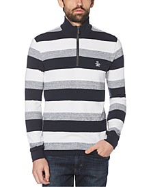 Men's Stripe Jacquard 1/4-Zip Fleece Sweater