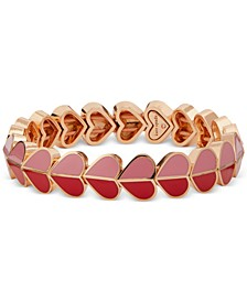 Gold-Tone Folded Heart Stretch Bracelet