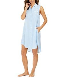 Striped Sleeveless Sleep Shirt Nightgown
