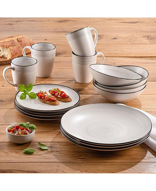 American Atelier ELLE Whitestone Stoneware 16-Piece Dinnerware Set, Service For 4