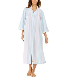 Striped Seersucker Long Zipper Robe