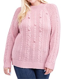 Plus Size Cable-Knit Mock-Neck Sweater