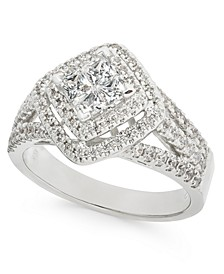 Diamond Princess Cluster Halo Ring (1 ct. t.w.) in 14k White Gold