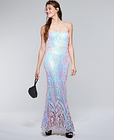 Juniors' Iridescent Sequin Mermaid Gown, Created for Macy's