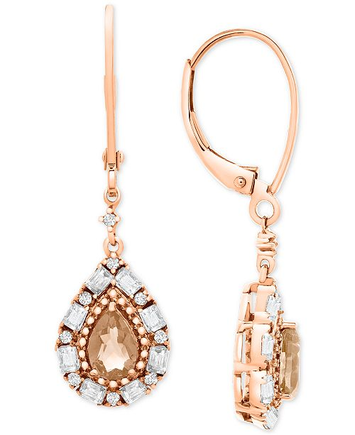 Macy's Morganite (3/4 ct. t.w.) & White Topaz (3/8 ct. t.w.) Drop Earrings in Rose Gold-Plated Sterling Silver