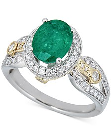 Emerald (1-1/2 ct. t.w.) & Diamond (1/2 ct. t.w.) Ring in 14k Gold & White Gold